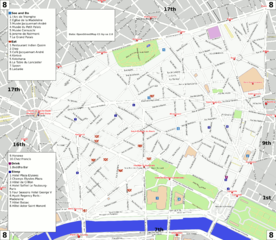 File paris 8th arrondissement map with listings wikimedia commons for Paris hotel 8th arrondissement
