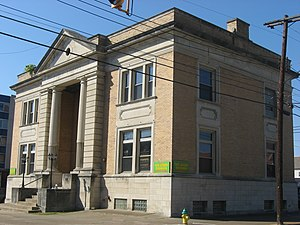 Carnegie Library (Parkersburg, West Virginia) - Front and eastern side of the former library
