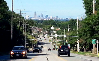Parma, Ohio - Cleveland Skyline from State Road