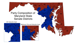 A map of Maryland showing the 47 Senate districts colored blue for districts controlled by Democrats and red for districts controlled by Republicans; it shows Democratic control of districts in central and southern Maryland, especially in Baltimore and suburban areas, with Republicans controlling the Eastern Shore and western Maryland