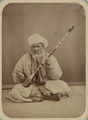 Pastimes of Central Asians. Musicians. A Man Practicing the Kamancha, a Long-necked Stringed Instrument WDL10824.png