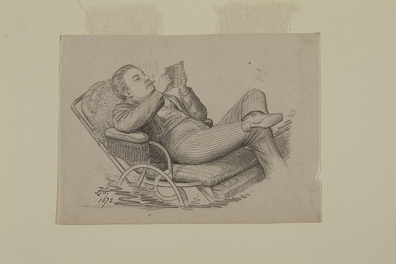 File:Pencil Drawing of a Lounging Man Reading a Book by A.B. Greene.jpg