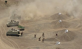 Peruvian Army - Peruvian Infantry disembarking from Infantry Fighting Vehicles in the Cruz de Hueso Exercise, 2007