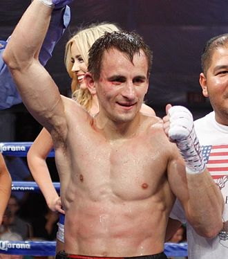 Petr Petrov (boxer) - Petrov celebrating his victory over Fedor Papazov, 2014