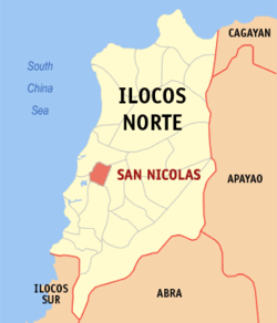 Map of Ilocos Norte showing the location of San Nicolas