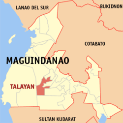 Map of Maguindanao showing the location of Talayan
