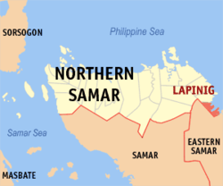 Map of Northern Samar with Lapinig highlighted