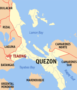 Map of Quezon showing the location of Tiaong