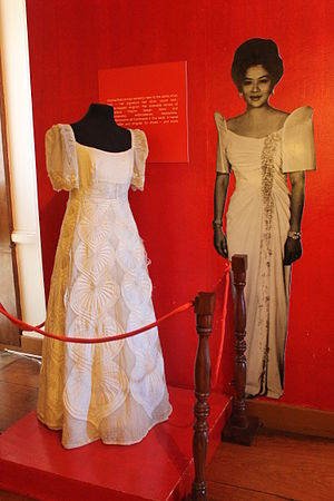 Maria Clara gown - A María Clara gown worn by Imelda Marcos in an exhibit at Malacañang of the North