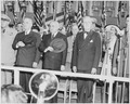 Photograph of President Truman and Brazilian President Eurico Dutra, standing at attention during ceremonies... - NARA - 200128.tif