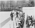Photograph of President Truman laying a wreath at the Tomb of the Unknown Soldier in Arlington National Cemetery. - NARA - 199438.tif