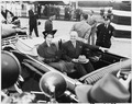 Photograph of Princess Elizabeth of Great Britain and President Truman in a limousine at Washington National Airport. - NARA - 200359.tif