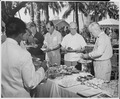 "Photograph of a picnic lunch in the garden of the ""Little White House,"" President Truman's vacation quarters at Key... - NARA - 200532.tif"