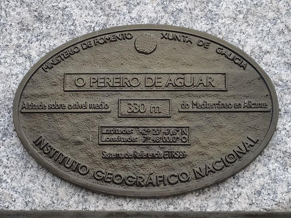 Placa altimétrica O Pereiro de Aguiar, Ourense