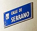 Placa de la calle de Serrano - SUAREZ, Serrano, 63, Madrid (cropped).jpg