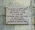 Plaque dépossée sur la façade du Couvent Sainte-Claire Avignon by JM Rosier.JPG