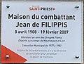 Plaque de la Maison du Combattant - Jean de Filippis (Saint-Priest) (cropped).jpg
