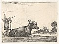 Plate 11- a resting donkey, a horse and a foal to right and a windmill to left in the background, from 'Various Figures' (Agréable diversité de figures) MET DP833163.jpg