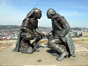 Guyasuta - Guyasuta and George Washington in discussion, ''Point of View'' sculpture, Pittsburgh