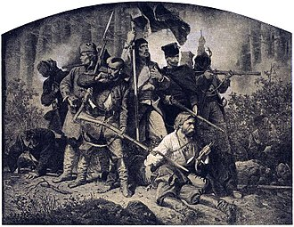 """January Uprising - """"The Battle"""" from the cycle of paintings """"Polonia"""" dedicated to January Uprising of 1863 - Artur Grottger."""