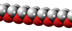 Space-filling model of a polyoxymethylene chain
