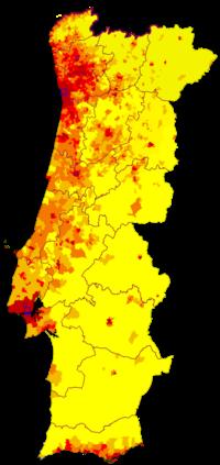 mapa demografico de portugal Demografía de Portugal   Wikipedia, la enciclopedia libre mapa demografico de portugal