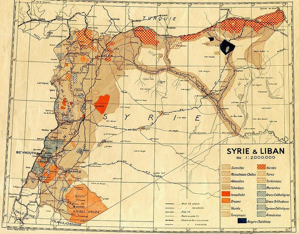 Population map Syria & Liban (1935)