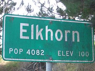 Elkhorn, California - Population sign on Dolan Road
