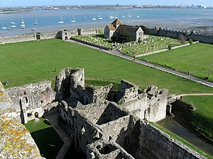Portus Adurni - View from later castle towards the walls and bastions of the Roman fort, including the Saxon gate and Norman priory church