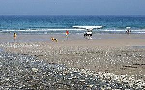 English: Porthtowan Beach. Not many people on ...