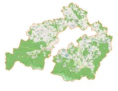 """Mapa konturowa powiatu karkonoskiego, na dole znajduje się punkt z opisem """"miejsce zdarzenia"""""""