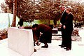 President Bill Clinton and First Lady Hillary Clinton watch Leah Rabin places flowers at the gravesite of Prime Minister Yitzhak Rabin.jpg
