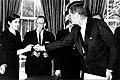 President Kennedy & Frances O. Kelsey (FDA 172) (8212346106).jpg