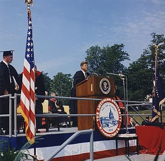 Kennedy delivers the commencement speech at American University, June 10, 1963 President Kennedy American University Commencement Address June 10, 1963.jpg