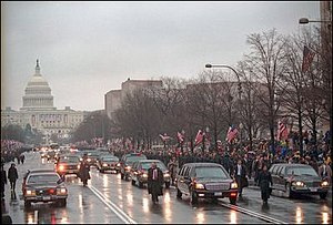 First inauguration of George W. Bush - Image: Presidential motorcade inaugural 2001