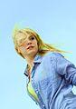 Pretty American Girl in Blue on Blue Sky.jpg