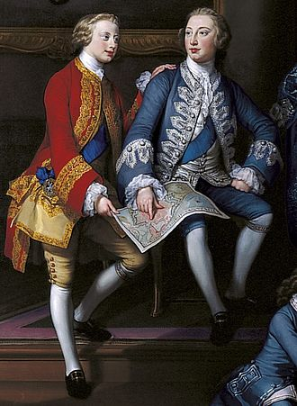 Prince Edward, Duke of York and Albany - Edward (left) and George examining a map of the fortifications of Portsmouth – a detail from George Knapton's The Children of Frederick, Prince of Wales, 1751
