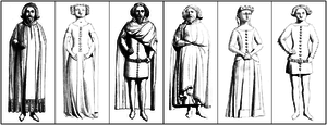 Issue of Edward III of England - 1840 drawing of the six surviving bronze statuettes on the south side of the base of the tomb of King Edward III in Westminster Abbey, representing some of his progeny
