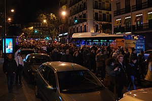 Spanish general election, 2015 - Protesters gather outside the PP HQs in Madrid after the eruption of the Bárcenas affair.