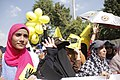 Protesters hold up four fingers as R4bia sign in Maadi-Cairo 20-Sep-2013.jpg