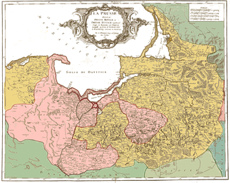 Royal Prussia - Contemporary map showing Royal Prussia - province of Poland and Ducal Prussia - fief of Poland.