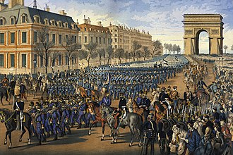 Military occupation - German troops parade down the Champs-Élysées in Paris after their victory in the Franco-Prussian War (1870-71)