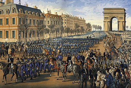 German troops parade down the Champs-Elysees in Paris after their victory in the Franco-Prussian War (1870-71) Prussian Troops Parade Down the Champs Elysee in Paris (1 March 1871).jpg