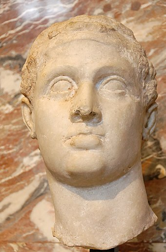 Hellenistic portrait of Ptolemy XII Auletes, the father of Cleopatra, located in the Louvre, Paris Ptolemy XII Auletes Louvre Ma3449.jpg