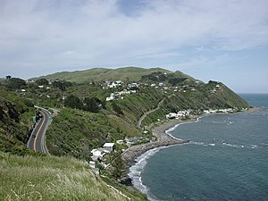 Looking south over Pukerua Bay in spring 2006 ...