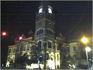 Pulaski County, Arkansas - Evening at the original portion of the Pulaski County Courthouse, in downtown Little Rock.