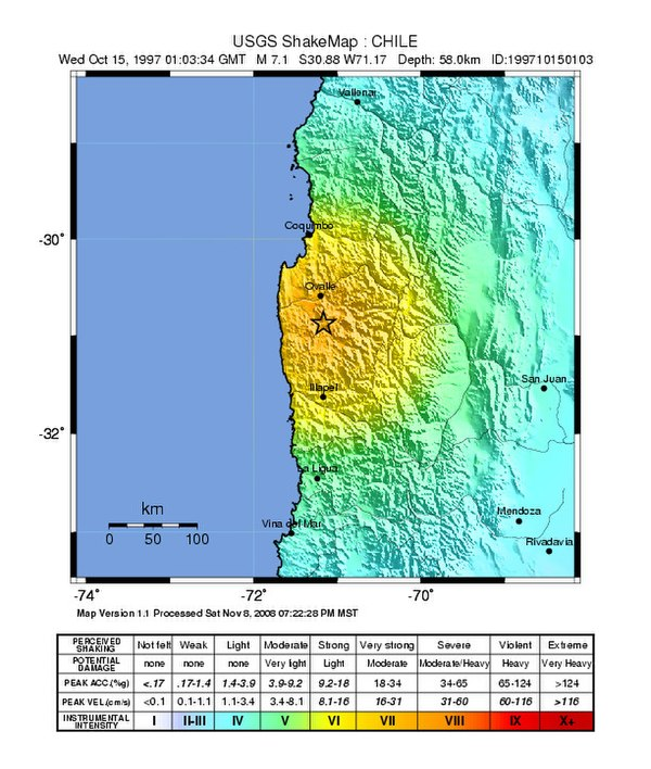 Megathrust earthquakes in Chile