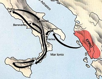 Roman Republic - Route of Pyrrhus in Italy and Sicily.