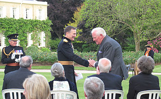 David Kirch - Government House, Jersey, 14 June 2013: Sir David Kirch is congratulated by the Lieutenant Governor of Jersey on the announcement of the award of a knighthood in the Queen's Birthday Honours list 2013