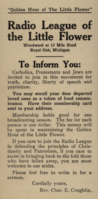 Charles Coughlin - Radio League of the Little Flower membership application card.